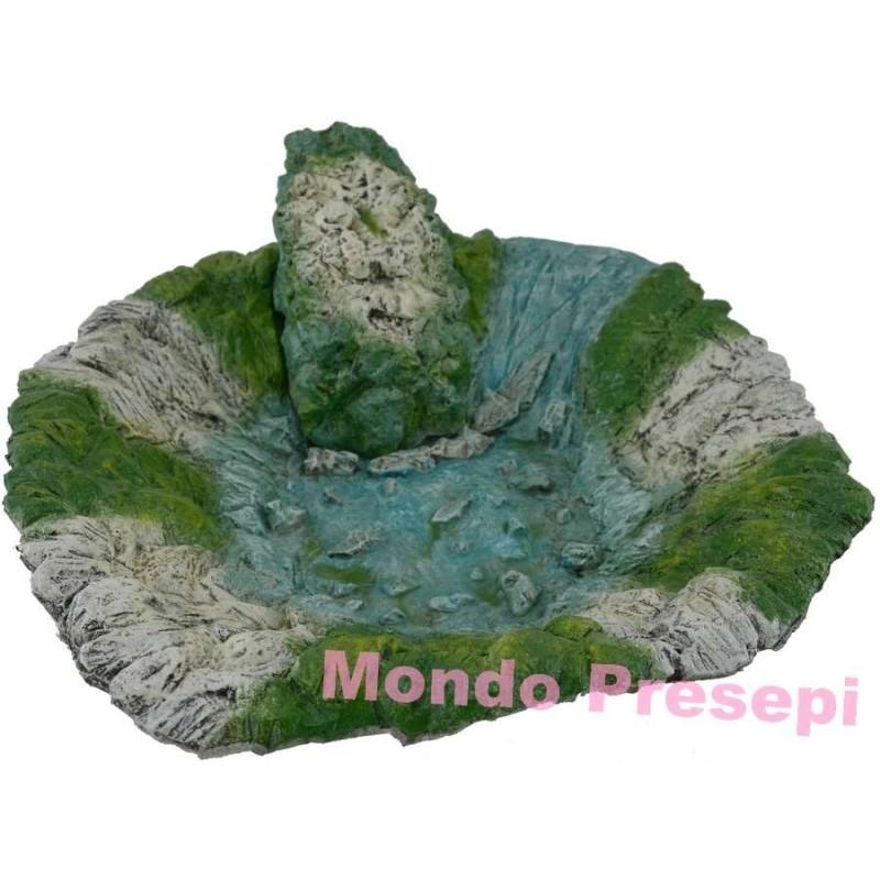 Mondo Presepi New - Ruscello - Lago Ø 36 cm in resina con pompa: