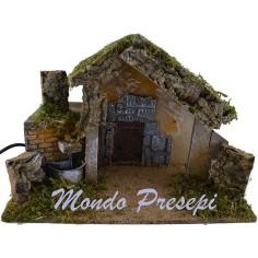 Mondo Presepi Capanna con fontana funzionante cm 36x17x23 h.