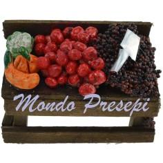 Mondo Presepi Banco con frutta e verdura cm 6,5x3,5x4 h.
