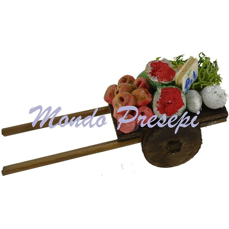 Mondo Presepi Carretto in legno con frutta-verdura