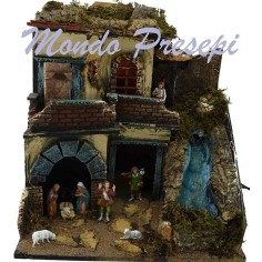 Nativity scene with statues Landi waterfall and lights cm 40x29x44 h.
