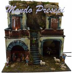 Building with statues Landi kitchen ef. fire and lights cm 49x35x50 h.