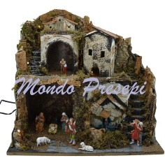 Nativity scene with statues, Landi and fountain lights cm 42x35x38 h.