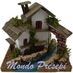 Mondo Presepi Casetta sul fiume ef. profondità cm 16x12x13 h.
