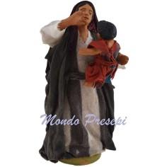 Donna con bambino tra le braccia cm 12 Lux