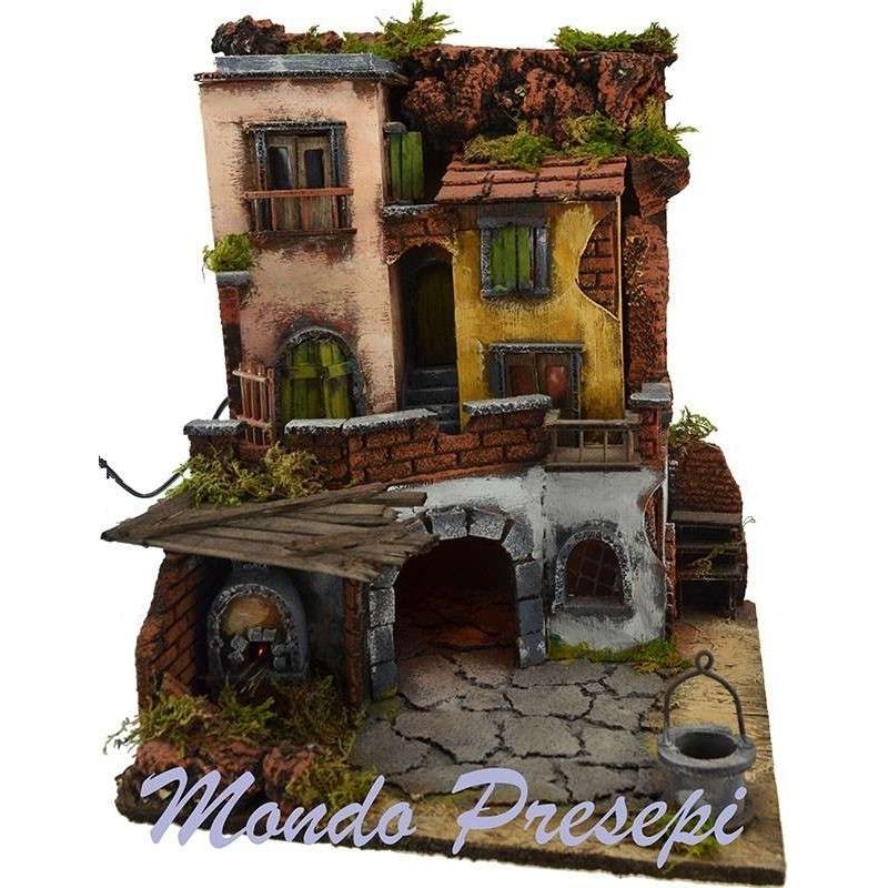 Mondo Presepi Borgo stile 700 illuminato con forno 30x30x40 h.