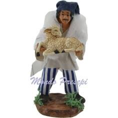 Uomo con pecora in braccio cm 10