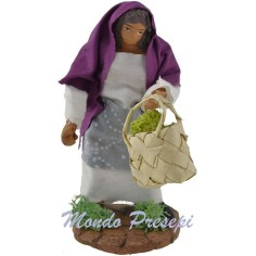 Donna con borsa di verdure cm 10