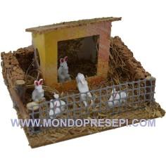 Mondo Presepi Conigliera con casetta - recinto animali presepe