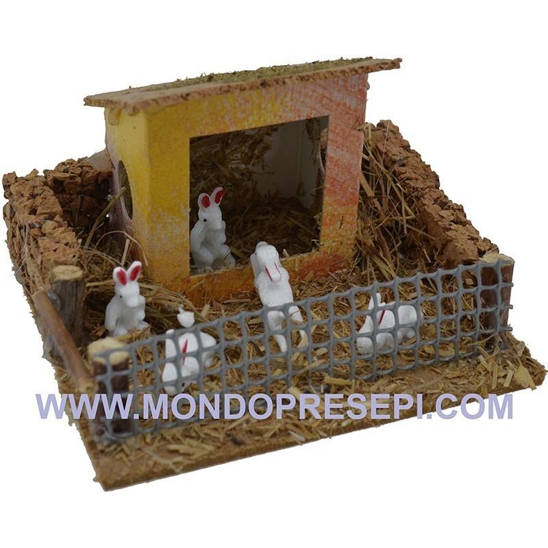 Conigliera con casetta - recinto animali presepe Mondo Presepi