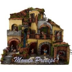 Mondo Presepi Presepe con borgo illuminato con cascata 60x40