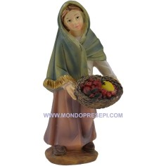 Mondo Presepi Cm 9 Donna con cesto di frutta