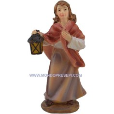 Mondo Presepi Cm 9 Donna con lanterna