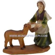 Mondo Presepi Cm 9 Donna con pecora