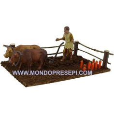Farmer with plow cm 20x12x8  - 1