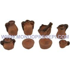Set of 8 terracotta amphora 1,5-1cm  - 1
