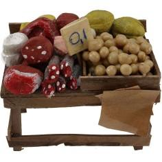 Mondo Presepi Banco con salumi e formaggi cm 9x6x4,5 h.