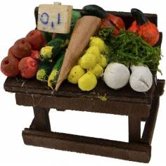 Mondo Presepi Banco frutta e verdura cm 6x5x4,5 h.