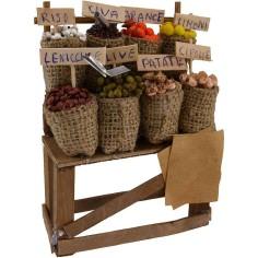 Banco con sacchi di frutta e verdura cm 10x4,5x14 h.