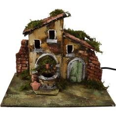 Mondo Presepi Casa con fontana in resina funzionante - case