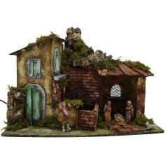 Complete nativity scene with water mill statues
