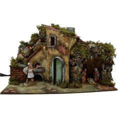 Complete nativity scene with Landi statues, movement and lights