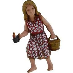 Bambina con cesto e candela serie 10 cm Landi  - 1