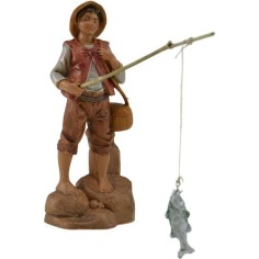 The fisherman with rod and fish 12 cm Fontanini