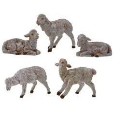 Mondo Presepi Set 5 pecore Fontanini per statue cm 12